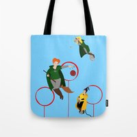 quidditch Tote Bags featuring Quidditch Sisters  by Katá Mart