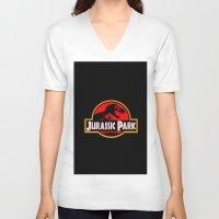 jurassic park V-neck T-shirts featuring Jurassic Park by MrWhite