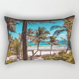 Cabana view of the Beach (Color) Rectangular Pillow