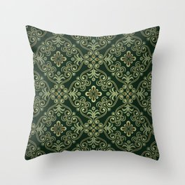 Luxury Ornamental Flowers Leaves Green Background Throw Pillow