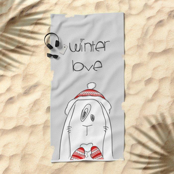 Winter Love Beach Towel