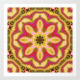 Sweet Happiness Floral Mandala Art Print