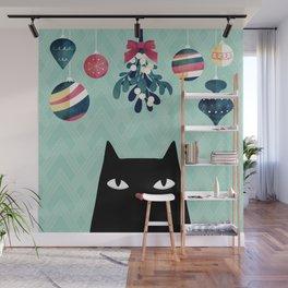 Mistletoe? (Black Cat) Wall Mural