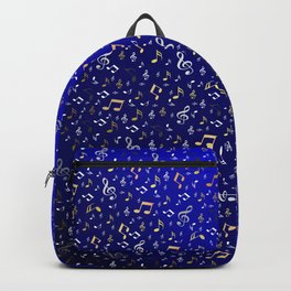 silver,gold,metall music notes in blue Backpack