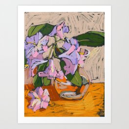 Rhododendron in a vase. Soft pastel. Still life. Art Print