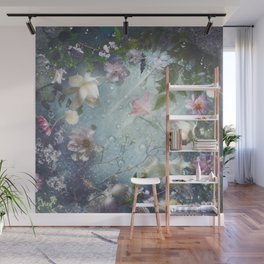 Flowers and Waters in Pale Pink and White Wall Mural