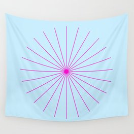 Spikeyburst Pastel Blue With Bright Pink Wall Tapestry