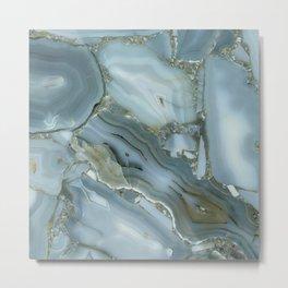 Geode Agate grey silver gemstone  Metal Print