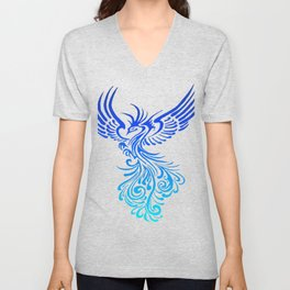 Rising From The Ashes Phoenix Blue Aqua Ombre Unisex V-Neck