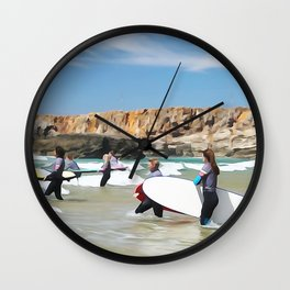 Rocks sea, travel surf beach nautical landscape Perfect day for surf Wall Clock