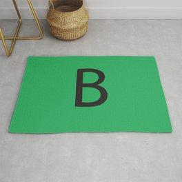 Letter B Initial Monogram - Black on Nephritis Rug