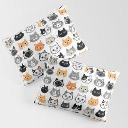 Cute Cats   Assorted Kitty Cat Faces   Fun Feline Drawings Pillow Sham
