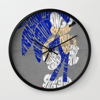 sonic Wall Clocks featuring Typography SONIC! by KeenaKorn