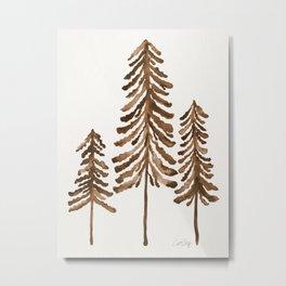 Pine Trees – Sepia Palette Metal Print