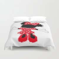 minnie mouse Duvet Covers featuring Minnie Mouse Paint Splat Magic by Whimsy and Nonsense