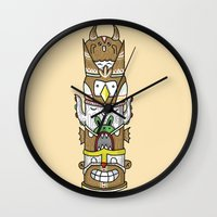 totem Wall Clocks featuring totem by ybalasiano