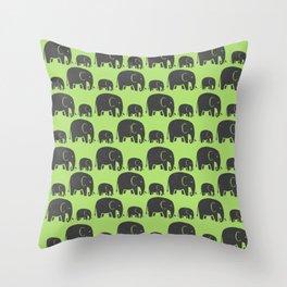 Elephant Wild Green Throw Pillow