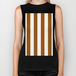 Vertical Stripes - White and Brown Biker Tank