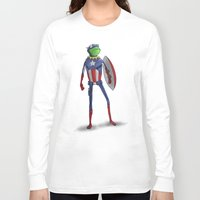 kermit Long Sleeve T-shirts featuring Captain Kermit by Matthew Bartlett