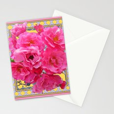CLUSTERED PINK ROSES ART DECO ART Stationery Cards