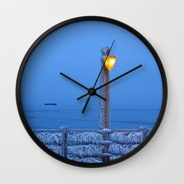 Frosted Light and Ship Wall Clock