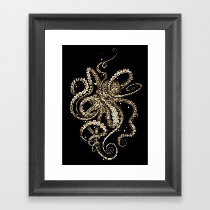 Octopsychedelia Sepia Gerahmter Kunstdruck