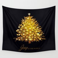 christmas tree Wall Tapestries featuring Christmas tree by valzart