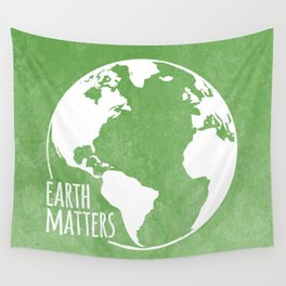 Earth Matters - Earth Day - White Outline On Green Grunge 01 Wall Tapestry
