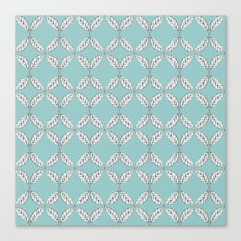 Seamless Leaves Pattern Turquois Canvas Print