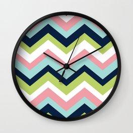 Chevron Pattern Navy Pink Aqua Lime Wall Clock