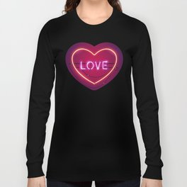 Pink Love in the Heart Neon Sign Long Sleeve T-shirt