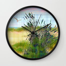 Plaid Beachscape with Seagrass Wall Clock