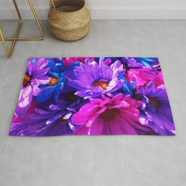 neon purple blue and pink flowers Rug