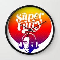 furry Wall Clocks featuring SUPER FURRY by BerkKIZILAY