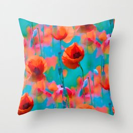 BLOOMING POPPIES TILE III Throw Pillow