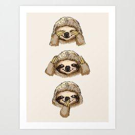 No Evil Sloth Art Print