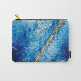 Blue Skies [2]: a pretty, abstract mixed-media piece in blue, gold and white Carry-All Pouch