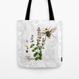 Cottage Style Thyme, Bumble Bee, Hummingbird, Herbal Botanical Illustration Tote Bag