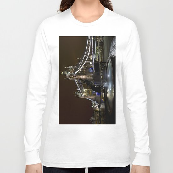 Girl and dolphin and Tower Bridge Long Sleeve T-shirt