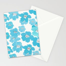 Camellia Flowers in Blue Pattern Stationery Cards