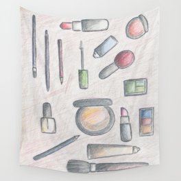 MAKE-UP - pencil and coloured pencil illustration Wall Tapestry