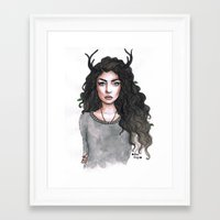 lorde Framed Art Prints featuring Lorde by The vintage icon