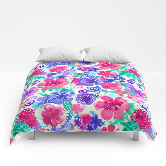 Fresh Watercolor Floral Pattern Comforters