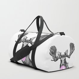 Bubble Gum Moose in Black and White Duffle Bag