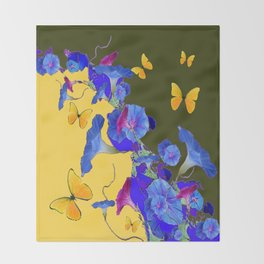 Yellow-Sage Color Yellow Butterflies Blue Morning Glories Art Throw Blanket