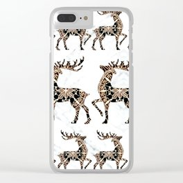 Marbled Black and Rose-Gold Mandala Reindeer Textile Clear iPhone Case