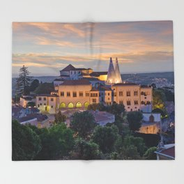 Palacio Nacional de Sintra at dusk, Portugal Throw Blanket