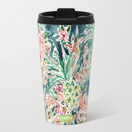 PINEAPPLE PARTY Lush Tropical Boho Floral Travel Mug