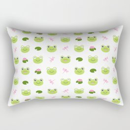Frogs, Dragonflies and Lilypads on White Rectangular Pillow