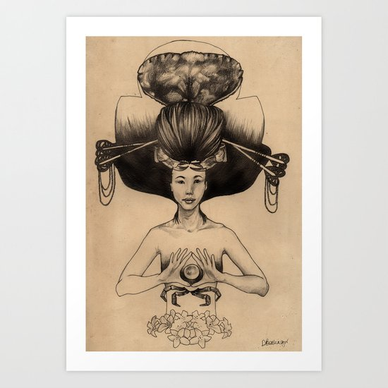 CANCER - Black and White Version Art Print